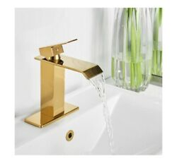 Waterfall Single Hole Single-handle Low-arc Bathroom Faucet In Gold