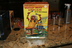 Marx Nutty Mad Indian Drummer Battery Operated Toy Boxed Clean Japan Tin