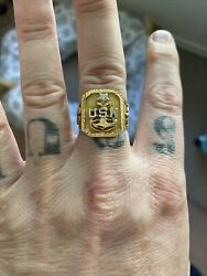 Mens Us Navy 18k Solid Gold Ring With Diamond Pre-owned Size 9.5