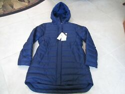 New Lacoste Down Puffer Quilted Hooded Jacket Coat Womens 40 8 Blue 375.00