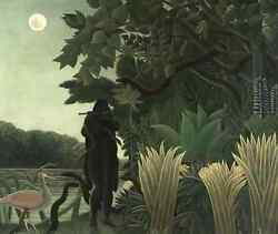 Oil Painting Handpainted On Canvas Woman,snake,crane,flowers,river,moon@hl22