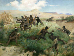 """Oil Painting Death Of The Imperial On 1 June 1879 During The War"""" N13657"""
