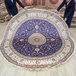 Yilong 8and039x8and039 Blue Hand Knotted Silk Carpet House Round Handwoven Area Rug 286c