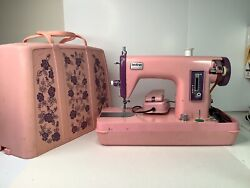 Vintage Brother Tingler 031 Sewing Machine Pink With Flower Pattern Case
