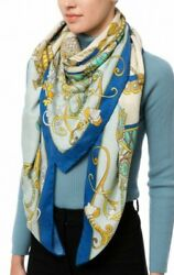 Rani Arabella Blue Toy Horses Scarf Poncho Cashmere/silk Made In Italy 720