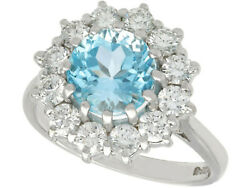Vintage 2.60ct Topaz And 1.04ct Diamond 18ct White Gold Cluster Ring Size N 1/2