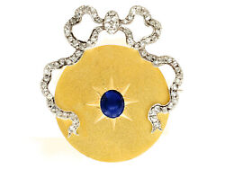 1.56 Ct Sapphire 0.68 Ct Diamond 18carat Yellow Gold Brooch - Antique French