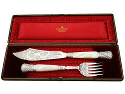 Antique Victorian Sterling Silver And Mother Of Pearl Handled Fish Servers 1895