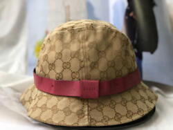 Used GUCCI bucket hat GG pattern iconic cotton beige L size made in Italy 87 SK $309.99