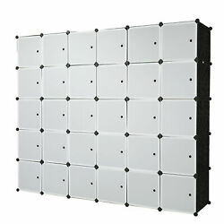 30 Cube Organizer Stackable Plastic Storage Shelves Closet Cabinet New