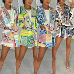 Womenand039s Ladies Scarf Print Summer Holiday Fashion Party Blazer Jacket Coat Top