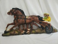 Vintage Universal Statuary Corp. Chicago 1966 Equestrian Plaque Horse Racing