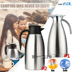 2l/68oz Stainless Steel Insulated Thermal Carafe Coffee Vacuum Pot Water Pitcher