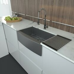Lordear Gunmetal Black Farmhouse Apron Front Kitchen Sink With Grid And Drain