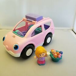 Fisher Price Little People Pink Open And Close Mini Van Suv Car Musical Mom Baby