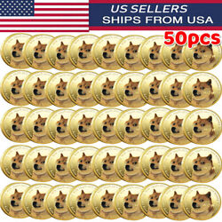 50x Gold Dogecoin Coins Commemorative Collector Gold Color Space Doge Coin 2021