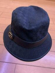 Nearly unused genuine GUCCI bucket hat GG pattern L black made in Italy 422 SK $744.99