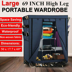 69quot; Heavy Duty Portable Closet Storage Organizer Wardrobe Clothes Rack Shelving