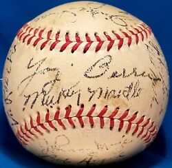 1952 Ws Champion New York Yankees Team Signed Ball 2nd Year Mickey Mantle Hof
