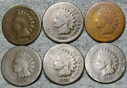 1864 1865 1873 1874 1875 1876 Indian Cent Penny Lot --- Nice Lot Of 6 --- M852