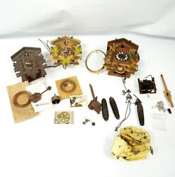 Lot Of 3 Vintage Cuckoo Clocks Parts Only Colorful And Brown Weights Pendulum