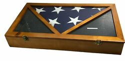 American Flag 9.5' X 5' Feet - Cotton Goodwill Usa Made With Wood Display Case