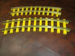 2 Lionel G Scale Train Railroad Yellow Curved Track Vintage