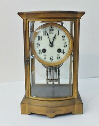 French 8-day Striking Four Glass Clock By Japy Freres Paris Late 19th Century