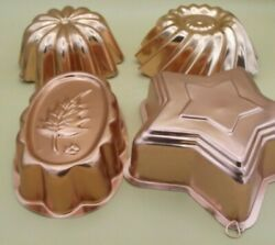 Lot Of 4 Vintage Copper Jello Molds W/ Wall Hanging Hanger Decor Rings