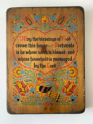 Vintage Yorkraft Wooden Sign - May The Blessings Of God Crown This House