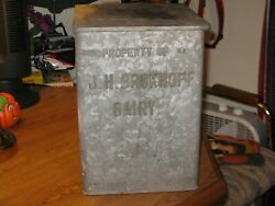 Vintage Brokhoff Dairy Pottsville Pa Advertising Milk Bottle Glavanized Box