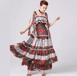 Occident Designs Novel Fashion Makings Rose Printed Women Holiday Dress Summer D