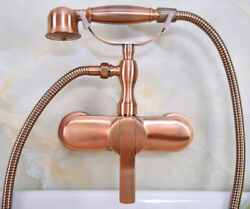 Antique Red Copper Wall Mounted Bathroom Shower Faucet Set Hand Sprayer Ena318