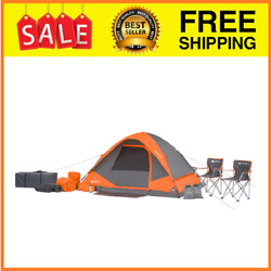 Combo 4-person Camping Tent 2 Sleeping Bags 2 Pillows 2 Foam Sleeping Pads..