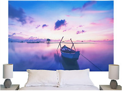 Sunset Boat Wall Hanging Beautiful Blue Purple Pink Colorful Tapestry Art For