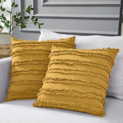 Longhui bedding Mustard Yellow Cotton Linen Throw Pillow Covers for Couch Sofa B
