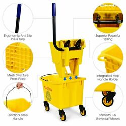 Commercial Mop Bucket 26 Quart Side Press Mophead Wringer 6.5 Gallons Of Water