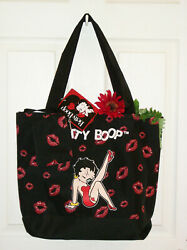 Betty Boop Large Tote Bag 17x14 + Coin Purse Nwt Black Red Lips