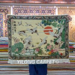 Yilong 3.3and039x2.2and039 Longevity Design Silk Carpet Antique Hand Knotted Area Rug 111h