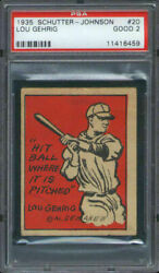 1935 Schutter Johnson Candy 20 Lou Gehrig Psa 2 New York Yankees Hof