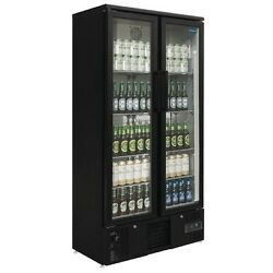 Polar Upright Back Bar Cooler With Double Hinged Doors In Black 490ltr - Gj449