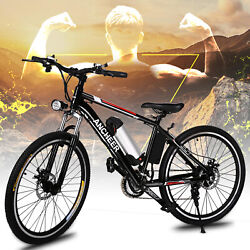 26 36v 250w Black Electric City Bicycle E-bike Shimano 21 Speed Pedal Assist..