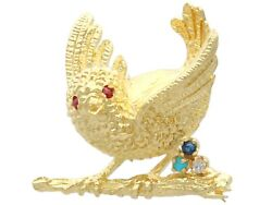 Ruby Sapphire Turquoise And Diamond 18k Yellow Gold Bird Brooch Vintage 1970