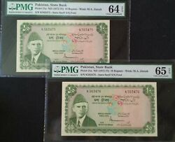 Pakistan 2 X 10 Rupees Signed By S.u. Durrani Green Consecutive Pair Pmg 64 And 65