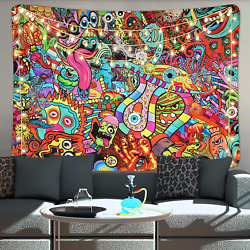 Boniboni Psychedelic Tapestry Trippy Wall Tapestry Abstract Monster Tapestries H