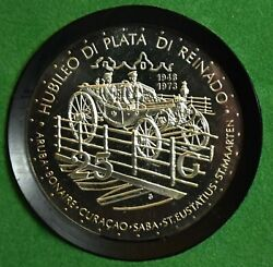 Gn1617 Netherlands Antilles 25 Gulden 1973 Km14 Proof 25th Anniversary Of Reign