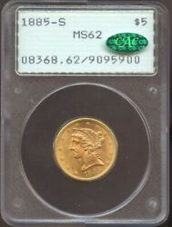 1885 S 5 Gold Liberty Ms 62 Cac Pcgs Old Rattler Blazing Luster And Color