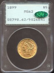 1899 5 Gold Liberty Ms 62 Cac Pcgs Old Rattler Nice Color Looks Undergraded