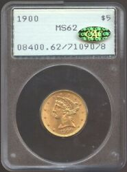1900 5 Gold Lberty Ms 62 Gold Cac Pcgs Old Rattler Nice Detail Undergraded