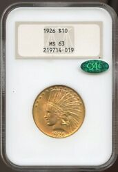 1926 10 Gold Indian Ms 63 Cac Ngc Old Fatty Ngc Great Surfaces And Color